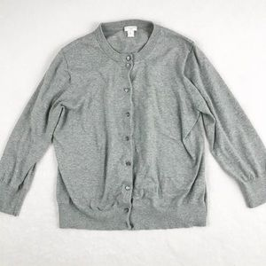 J. Crew Gray The Clare Cardigan with Buttons - XL